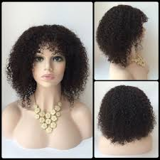 Natural Hair Style Wigs short faddish side bang afro curly lace front real natural hair 3116 by stevesalt.us