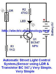 automatic street light control system sensor using ldr circuit diagram 1 automatic street light control system sensor using ldr transistor bc 547 very simple we have tried this one in this tutorial bu you
