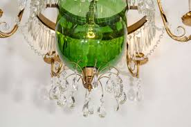 mid century modern a vintage green glass bell jar chandelier w hanging crystals for