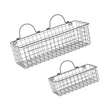 dii farmhouse vintage hanging wall mounted wire metal basket fo free
