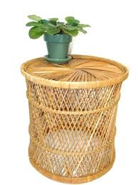 wicker accent table rattan side table vintage rattan drum table side table bohemian home wicker plant wicker accent table