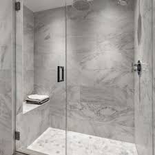 White tile bathroom ideas Textured Transitional Gray Tile And White Tile Mosaic Tile Floor Alcove Shower Photo In New York With Houzz 75 Most Popular White Tile Bathroom Design Ideas For 2019 Stylish