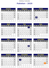 Printable Calendars 2020 With Holidays Pakistan 2020 Printable Holiday Calendar Printable Hub