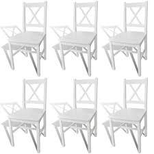 Vidaxl Esszimmerstühle 6 Stk Holz Weiß