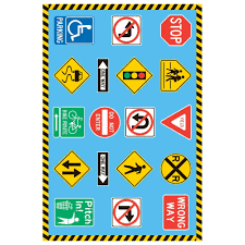 la rug fun time traffic signs multi colored 3 ft x 5 ft area rug ft 130 3958 the home depot