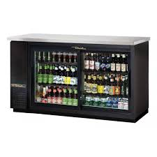 62 black back bar cooler w sliding glass doors shallow depth