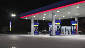 the lighting blurred in gas station at night hd stock clip