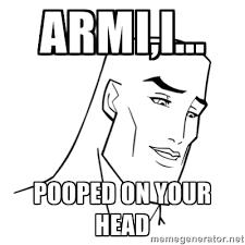 Armi,I... Pooped on your head - Handsome Face | Meme Generator via Relatably.com
