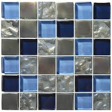 titanium blue 1 x 1 glossy iridescent glass pool tile