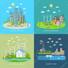 Ecological City Design Eco City Design Concept Set Stock Vector Macrovector