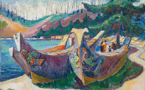 war canoes alert bay by emily carr