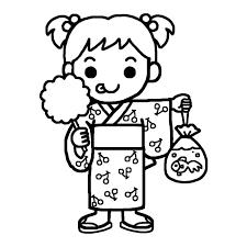 浴衣の女の子白黒なつまつり夏祭りの無料イラスト夏の季節行事