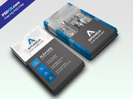 Blue And Grey Vertical Business Card Template Design In Psd