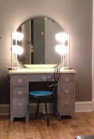 Lighted Bedroom Vanity Diy Makeup Vanity Refinish Old Desk 2 Lamps From Wal Mart Wall