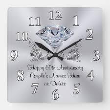 diamond personalized 60th anniversary gifts clock