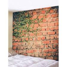 leafy brick wall print tapestry wall art decoration red w59 inch l51 inch