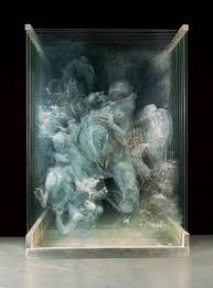 chinese artist xia xiaowan s painting works on panes of glass are called spatial paintings and often feature distorted figures dr