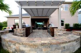 outdoor living summer kitchen with circle paver kit pergola
