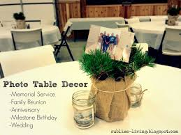 Rustic Burlap, Mason Jar, Photo Table Decor - Centerpieces & Candles  Funeral, Memorial