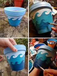 painting flower pots with acrylics