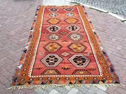 image 0 orange kilim rug pale faded vintage