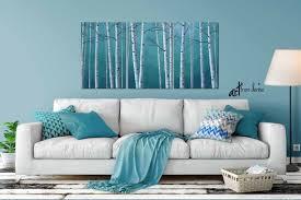 art canvas triptych teal blue gray
