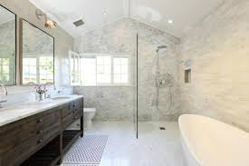 ... LA Master Bath Remodel With Elegant Marble Brick Tiles Design Wall  Bathroom Also Oval ...