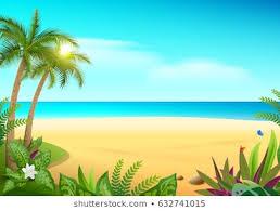 tropical paradise island sandy beach palm trees and sea vector cartoon ilration hawaii