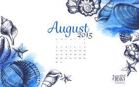 2015 desktop calendar.  Calendar Free Inspiring August 2015 Desktop Calendar From Missdetailscom  Seashell  Illustrations Throughout Desktop Calendar D