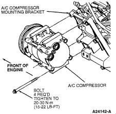 1996 ford taurus lx ac compressor 24 valve 3 0 l efi tricks remove the a c compressor retaining bolts