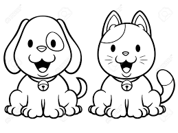 vector vector ilration of cartoon cat and dog coloring book