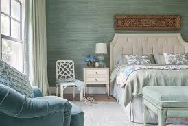 french cottage displays an elegant design with a light pastel green theme from grasscloth wallpaper walls to a velvet bench with white and gold trim at the
