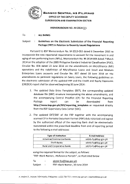 Bsp Memorandum No M 2014 025 Guidelines On The Electronic