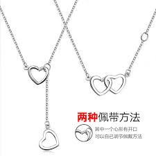 get ations s925 silver color silver jewelry rose gold plated double heart two wearing a necklace female south