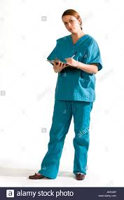 Whole Body Chart Female Nurse In Scrubs Full Body Holding Patient Chart Stock