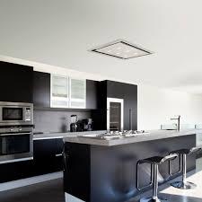 slimline ceiling cooker hood in stainless steel