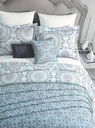 com cynthia rowley bedding 3 piece duvet cover set round medallion hearts pattern in shades of blue orange gray on white king home kitchen