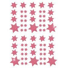 68 Sterne Sticker Aufkleber Glitzernd Funkelnd Weihnachtsdeko Rosa