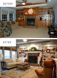 furniture painting shelves spray den makeover with painted built ins new floors grey on the walls west elm curtains and