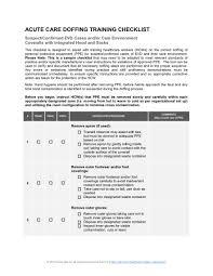 Pshsa Customizable Acute Care Doffing Training Checklist