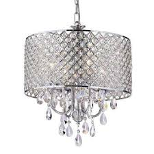 marya 4 light chrome round chandelier with beaded drum hanging clear crystal glass teardrops