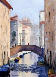 bridge over venice c watercolor painting