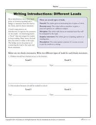 Writing Introductions How To Write An Introduction Different Leads Worksheet
