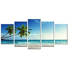 wieco art 5 panels modern stretched and framed contemporary ocean sea beach artwork pictures paintings on on beach framed canvas wall art with amazon wieco art 5 panels modern stretched and framed