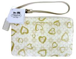 Coach Waverly Hearts Small Wristlet Wallet Khaki   Gold, New with Tags