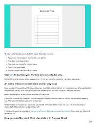 Microsoft Word Template Checklist Download Your Free Microsoft Word Checklist Template