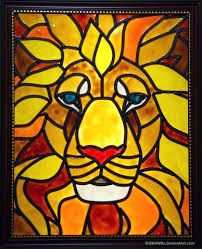 lion faux stained glass by kirawra on deviantart