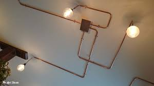 hanging from the ceiling and plants coming through the walls but all of that is contrasted with industrial shelves with pipes and copper lighting which