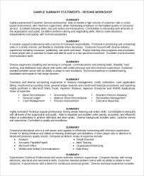 Resume Summary Statement Amazing Resume Customer Service Resume Summary Statement Examples From