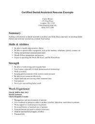 Resume Template For Dental Assistant Jospar
